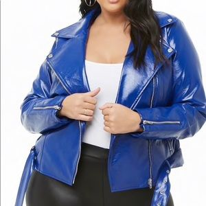 COBALT FAUX LEATHER CROPPED MOTO JACKET